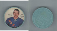 1961 Shirriff Coins Hockey, #92 Ted Hampson, New York Rangers