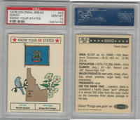 1976 Colonial Bread, Know Your States, #43 Idaho, PSA 10 Gem