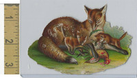 Victorian Diecuts, 1890's, Animals, Fox Eating Chicken (2)