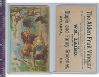 Victorian Card, 1890's, Animals, Alden Vinegar, Lion, Monkey, Giraffe