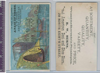 Victorian Card, 1890's, Burns Shoes, Boats, Venice Canal