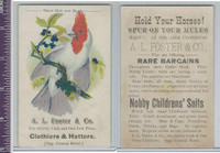 Victorian Card, 1890's, Foster Clothiers, Colorful Bird on Branch