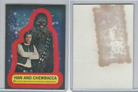 1977 Topps, Star Wars Stickers, 2nd Series, #12 Han and Chewbacca (Gum Stain)