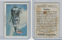 T87 Wings Cigarettes, Series (No Letter Series), 1941,#20 Fighter