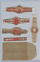 T350-1, 1910, Imitation Cigar Bands, Helmar, 5 Different & Glassine (16)
