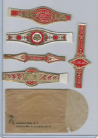 T350-1, 1910, Imitation Cigar Bands, Helmar, 5 Different & Glassine (23)