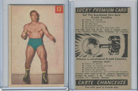 V337-1 Parkhurst, Wrestling, 1954, #13 Paul Baillargeon, Lucky Pre. (Trim)