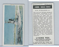 L0-0 Lyons Tea, Warships HMS 1902-1962, 1965, #2 HM Submarine A.1