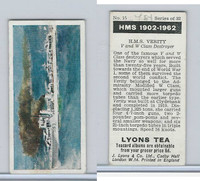 L0-0 Lyons Tea, Warships HMS 1902-1962, 1965, #15 HMS Verity