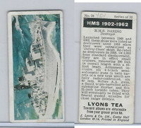 L0-0 Lyons Tea, Warships HMS 1902-1962, 1965, #24 HMS Daring