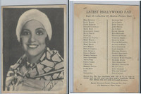 W618 Brody, Motion Picture Stars, 1926, Checklist Back, Ethelind Terry