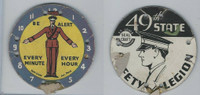 M30 St. Louis Globe, Seal Craft Disc, 1930's, Safety, Be Alert Every Minute