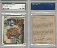 T53 Hassan Cigarettes,  Cowboy Series, 1910, A Close Call, PSA 5 EX