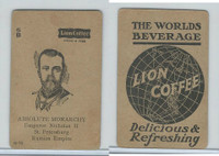 K Card Lion Coffee, Politicians, 1905, #N18 Emperor Nicholas II, Russia