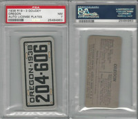 R19-3 Goudey, Auto License Plates Card, 1938, Oregon, PSA 7 NM