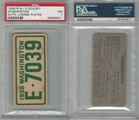 R19-3 Goudey, Auto License Plates Card, 1938, Washington, PSA 7 NM