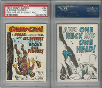 1961 Topps, Crazy Cards, #24 A Swiss Climber Fell Mt. Everest, PSA 7 NM