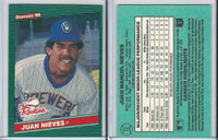 1986 Donruss Rookies Baseball, #12 Juan Nieves, Brewers
