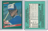 1986 Donruss Rookies Baseball, #16 Kelly Gruber, Blue Jays