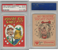 1960 Topps, Funny Valentines, #11A You're So Sweet!, PSA 8 NMMT