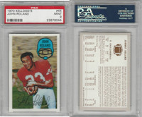 1970 Kelloggs Football, #44 John Roland, St. Louis Cardinals, PSA 9 Mint
