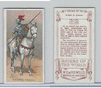 W62-234 Wills, Riders Of The World, 1913, #28 Knight in Armor