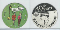 M30 St. Louis Globe, Seal Craft Disc, 1930's, Safety, Obey All Traffic Signs (B)