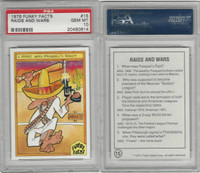 1976 Funky Facts, Baseball, #15 Raids And Wars, PSA 10 Gem