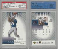 2002 Upper Deck Graded Football, #109 Tim Carter, Giants, PSA 10 Gem