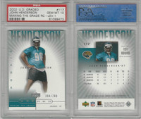 2002 Upper Deck Graded Football, #117 John Henderson, Jaguars, PSA 10 Gem