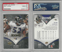 2008 Upper Deck Icons Football, #7 Ray Lewis, Ravens, PSA 10 Gem