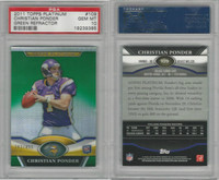 2011 Topps Platinum Football, #109 Christian Ponder RC, Vikings, PSA 10 Gem