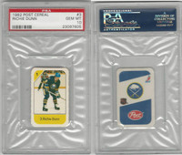 1982 Post Cereal Hockey, #3 Richie Dunn, Sabres, PSA 10 Gem