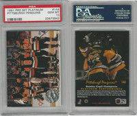 1991 Pro Set Platinum Hockey, #144 Pittsburgh Penguins, PSA 10 Gem