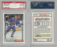 1992 Topps Hockey, #495 Joe Sakic, Nordiques, PSA 10 Gem