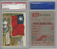 1956 Topps, Flags of the World, #11 Burma, PSA 6 EXMT