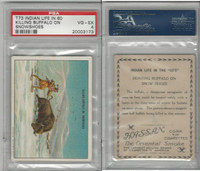 T73 Hassan, Indian Life, 1910, Killing Buffalo on Snowshoe, PSA 4 VGEX