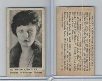 T85-3 Tobacco Products, Strollers, Movie Stars, 1922, #173 Naomi Childers