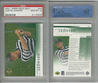 2001 Upper Deck Golf, #16 Justin Leonard, PSA 10 Gem