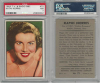 1953 Bowman, TV & Radio Stars NBC, #72 Kathi Norris, PSA 7 NM