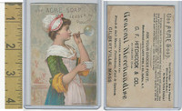 Victorian Card, 1890's, Acme Soap, Girl Blowing Bubble, Gilbertville, Mass.