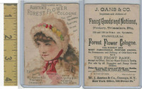 Victorian Card, 1890's, Austen Cologne, Oswego, NY, Girl Wearing Hat