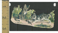Victorian Diecuts, 1890's, Cats, Two Kittens, Grass (10)