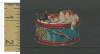 Victorian Diecuts, 1890's, Cats, Two Kittens on Drum (13)