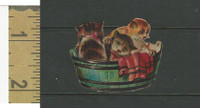 Victorian Diecuts, 1890's, Cats, Three Kittens in Barrel (14)