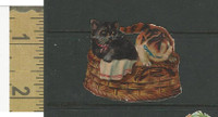 Victorian Diecuts, 1890's, Cats, Two Kittens in Basket (16)