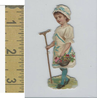 Victorian Diecuts, 1890's, Children, (46) Girl Holding Rake & Flowers
