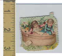 Victorian Diecuts, 1890's, Children, (48) Two Kids in Tub, Flowers