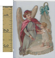Victorian Diecuts, 1890's, Children, (58) Cherub With Child in Bed