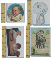 Victorian Diecuts, 1890's, Children, (61) 4 Trimmed Card Scraps
